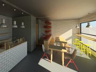 Pizzería: Salas de estilo industrial por Madera de Arquitecto