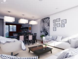 3h arquitectos Living room Concrete White