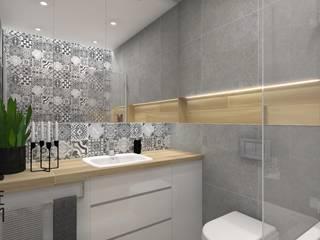 Projekt łazienki - Patchworkowy kompromis Skandynawska łazienka od Katarzyna Piotrowiak Pure Form Skandynawski