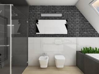 Projekt łazienki - Grafitowa cegła w tle Minimalistyczna łazienka od Katarzyna Piotrowiak Pure Form Minimalistyczny