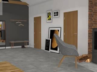 Mieszkanie na poddaszu Industrialny korytarz, przedpokój i schody od Katarzyna Piotrowiak Pure Form Industrialny