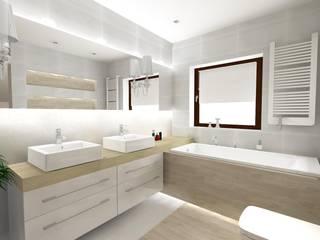 Projekt łazienki - Klasyczna Carrara Nowoczesna łazienka od Katarzyna Piotrowiak Pure Form Nowoczesny