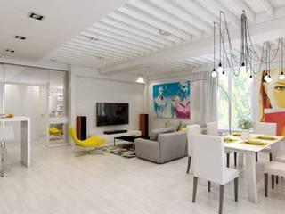 Дизайн-проект 5-и комнатной квартиры г. Геленджик 198 м2 Гостиная в стиле модерн от inwork Модерн