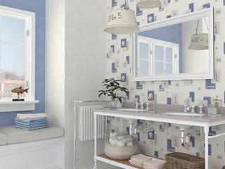 Papel pintado motivos marineros y conchas para baños :  de estilo  de Papel pintado para paredes Gaulan