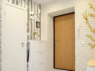 Scandinavian style corridor, hallway& stairs by Белый Эскиз Scandinavian