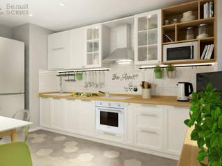 Nhà bếp phong cách Bắc Âu bởi Белый Эскиз Bắc Âu