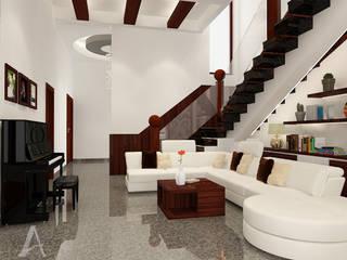 Rumah Bergaya Etnik yang Dikemas Lebih Modern Ruang Keluarga Modern Oleh AIRE INTERIOR Modern