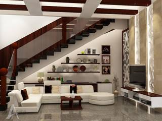 Ruang Keluarga bergaya campuran antara etnik dan modern: Ruang Keluarga oleh AIRE INTERIOR , Modern Kayu Wood effect