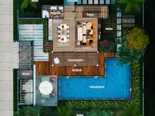Lumbung Villas Skye Architect Ruang Keluarga Tropis Kayu Brown
