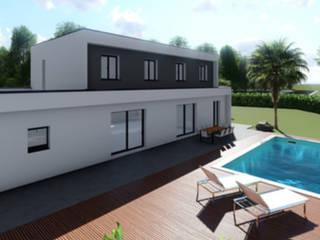 Permis de construire pour une maison avec toit terrasse Maisons modernes par Permettez-moi de construire Moderne