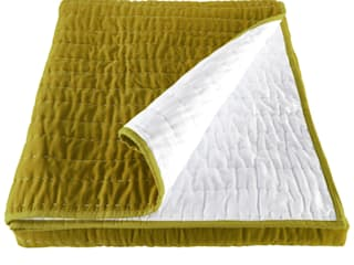 Opal Kiwi Lime Green Hand Quilted Velvet Bedspread:   by Ragged Rose
