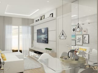 Apartamento Bellagio: Salas de estar  por Leticia De Col Arquitetura e Interiores,Moderno