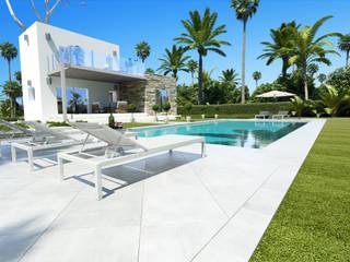 Desde la terraza y la piscina, fachada Sur:  de estilo  de Rimolo & Grosso, arquitectos
