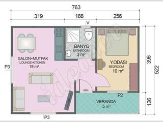 İdeal Ev (Prefabrik Evim) – Prefabrik Ev 40 m² - Plan:  tarz Prefabrik ev
