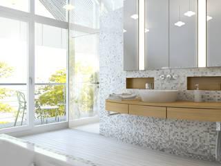 Baden + Schlafen Ansicht Waschtisch:  Badezimmer von Dielen Innenarchitekten