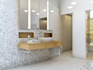 Baden + Schlafen Ansicht Sauna:  Badezimmer von Dielen Innenarchitekten