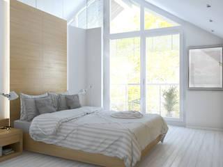 Baden + Schlafen Ansicht Bett:  Schlafzimmer von Dielen Innenarchitekten