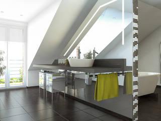Baden im Dachgeschoss Ansicht Waschtisch:  Badezimmer von Dielen Innenarchitekten