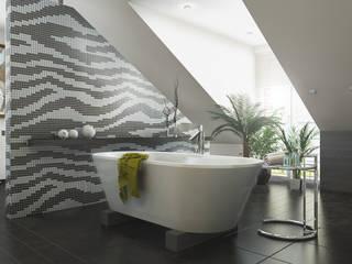 Baden im Dachgeschoss Ansicht Badewanne:  Badezimmer von Dielen Innenarchitekten