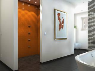 Baden im Dachgeschoss Ansicht Dusche:  Badezimmer von Dielen Innenarchitekten