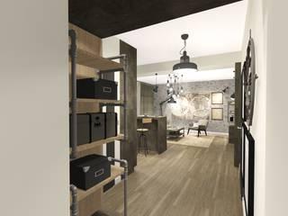 industrial style corridor, hallway & stairs. by KOKON zespół architektoniczny Industrial