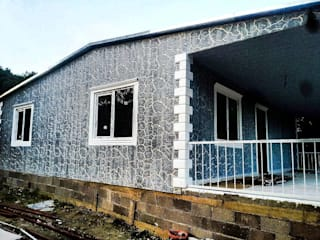 Hannprefabrik – Kayrak taş görünümlü söve mantolamalı betopan  prefabrik ev:  tarz