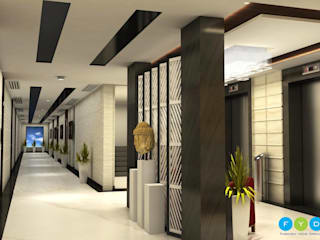 A tastefully designed studio apartment lift lobby with Custom lighting, furniture and accessories. Modern corridor, hallway & stairs by FYD Interiors Pvt. Ltd Modern
