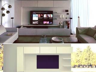 mueble living: resultado final y render:  de estilo  por MARIA NIGRO ARQUITECTA