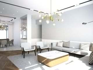 ZHUHAI RESIDENCE:  Living room by BIGGERTHANstudio