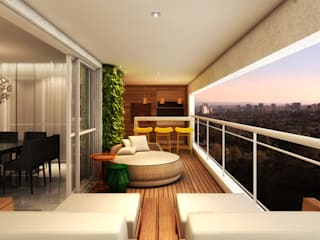 AR HOME - Chácara Klabin Varandas, alpendres e terraços modernos por Semíramis Alice Arquitetura & Design Moderno