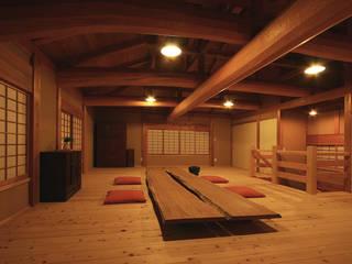 木造伝統工法の日本家屋「調布の家」: 木造伝統構法 惺々舎が手掛けたリビングです。,