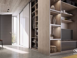 Pasillos, vestíbulos y escaleras modernos de Komandor - Wnętrza z charakterem Moderno
