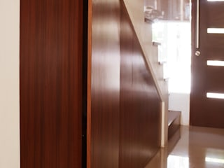 Graha Natura AB show unit KOMA living interior design Corridor, hallway & stairsStorage Kayu Brown