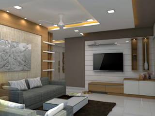 project kondapur:  Living room by shree lalitha consultants