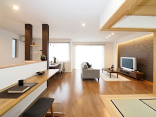 Live Sumai - アズ・コンストラクション - Modern living room Wood effect