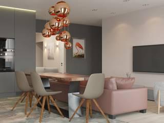 """Дизайн-проект 3-х комнатной квартиры в ЖК """"Акварели"""": Гостиная в . Автор – Sweet Flat,"""