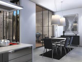 Bangka X House INK DESIGN STUDIO Ruang Makan Minimalis Grey