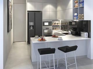 Bangka X House INK DESIGN STUDIO Dapur Minimalis Grey