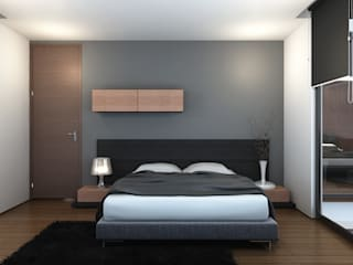 INK DESIGN STUDIO Minimalist bedroom Grey