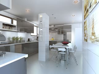 homify Built-in kitchens Quartz White