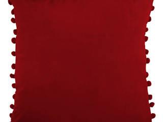 Arabella Red Velvet Pom Pom Cushion Ragged Rose SalonAccessoires & décorations Rouge