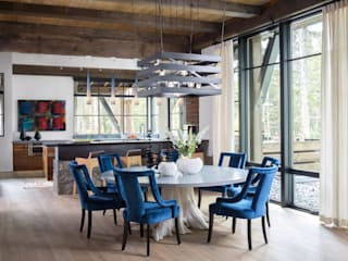 Contemporary Mountain Chalet:  Dining room by Andrea Schumacher Interiors