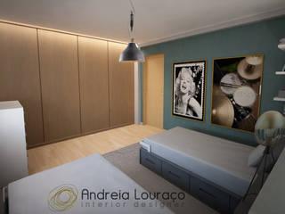 """Projecto de Decoração Quarto de Rapazes - """"Touch of music and cinema"""": Quartos  por Andreia Louraço - Designer de Interiores (Contacto: atelier.andreialouraco@gmail.com)"""
