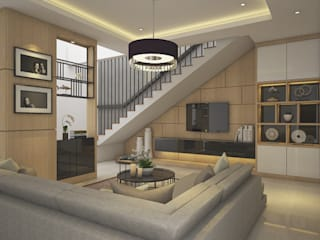 Modern Living Area:  Ruang Keluarga by Veon Interior Studio