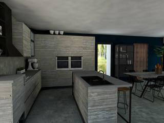 Progetto casa a Manila - Filippine StudioExNovo Cucina in stile tropicale Legno Grigio