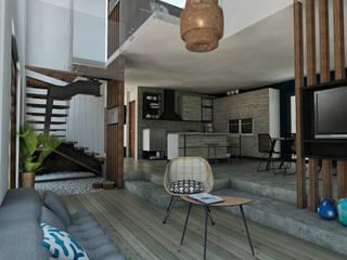 Progetto casa a Manila - Filippine StudioExNovo Soggiorno in stile tropicale