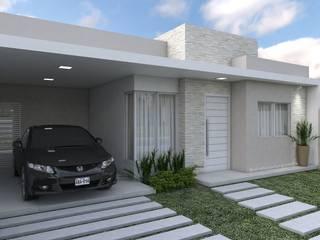 FACHADA: Casas familiares  por Aline Bassani Arquitetura