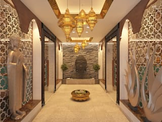 Restaurants Asian style corridor, hallway & stairs by Vivitsu Design Asian
