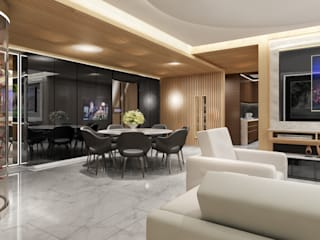 Half & Half Circle Residenence:  Dining room by TheeAe Architects, Modern