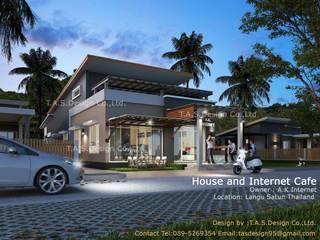 ออกแบบบ้านพักอาศัย 1 ชั้นและอินเตอร์เน็ตคาเฟ่:   by T.A.S.Design Co.,Ltd.